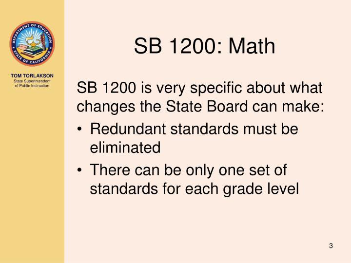 SB 1200: Math