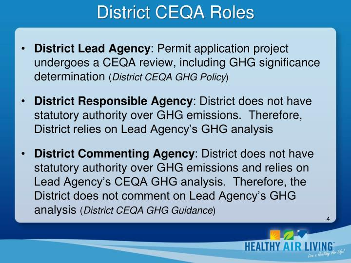 District CEQA Roles