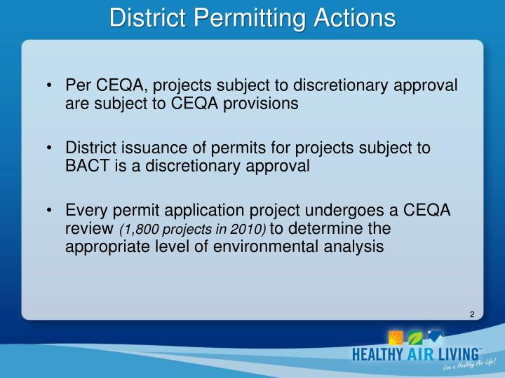 District permitting actions