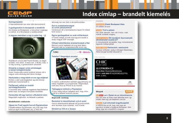 Index címlap – brandelt kiemelés