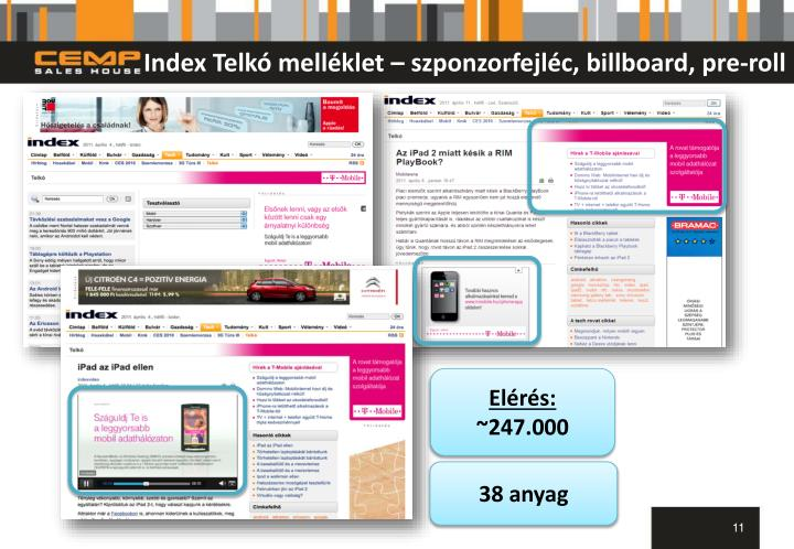 Index Telkó melléklet – szponzorfejléc, billboard, pre-roll