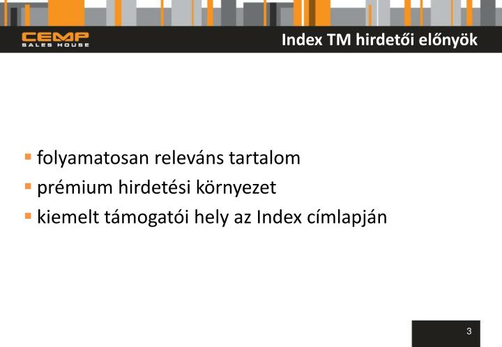 Index TM hirdetői előnyök