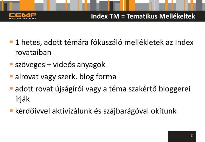 Index TM = Tematikus Mellékeltek