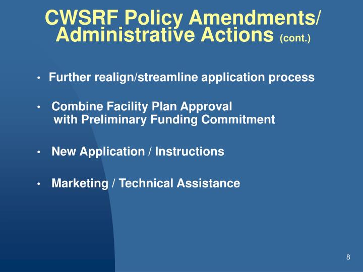 CWSRF Policy Amendments/