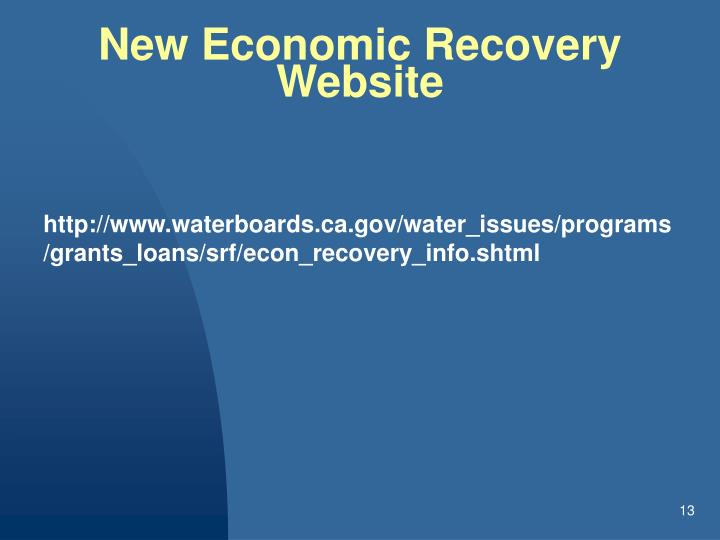 New Economic Recovery Website