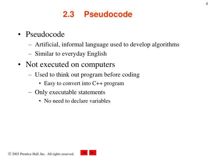 2.3Pseudocode