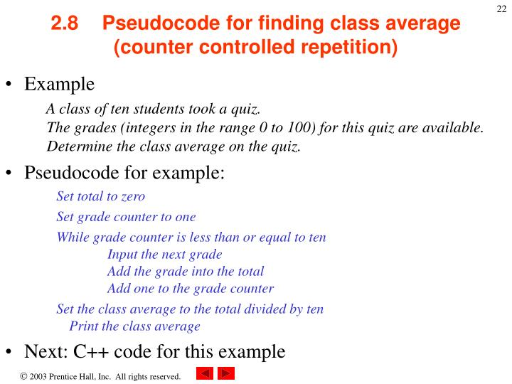 2.8Pseudocode for finding class average