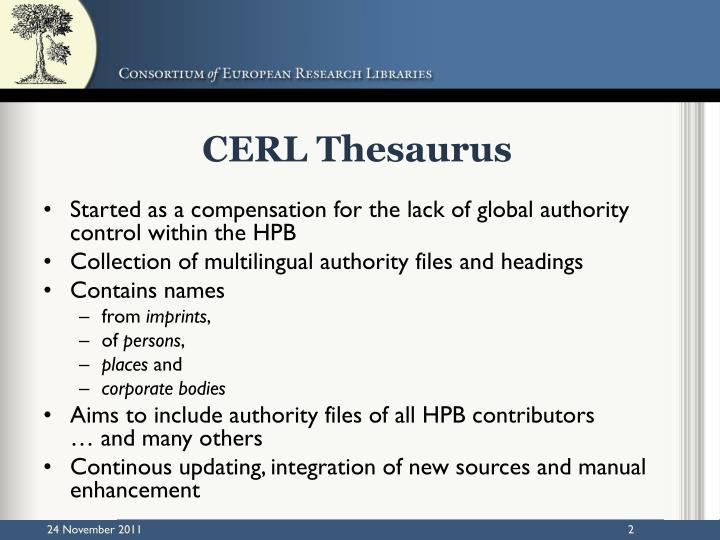 CERL Thesaurus