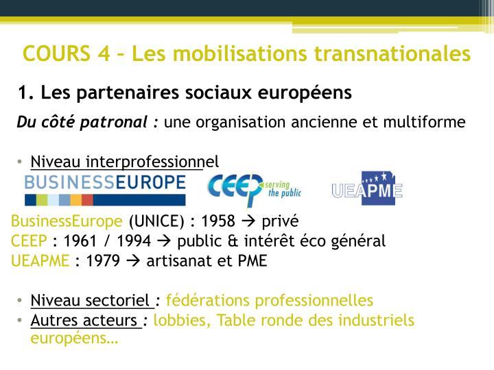 COURS 4 – Les mobilisations transnationales