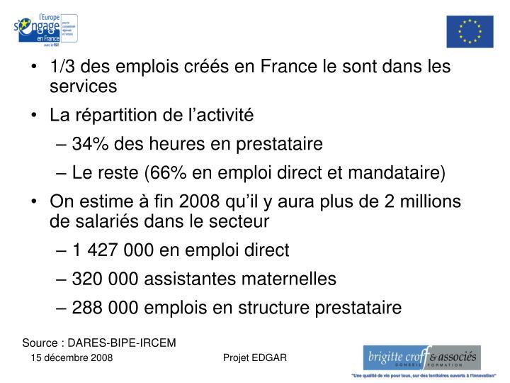 1/3 des emplois créés en France le sont dans les services