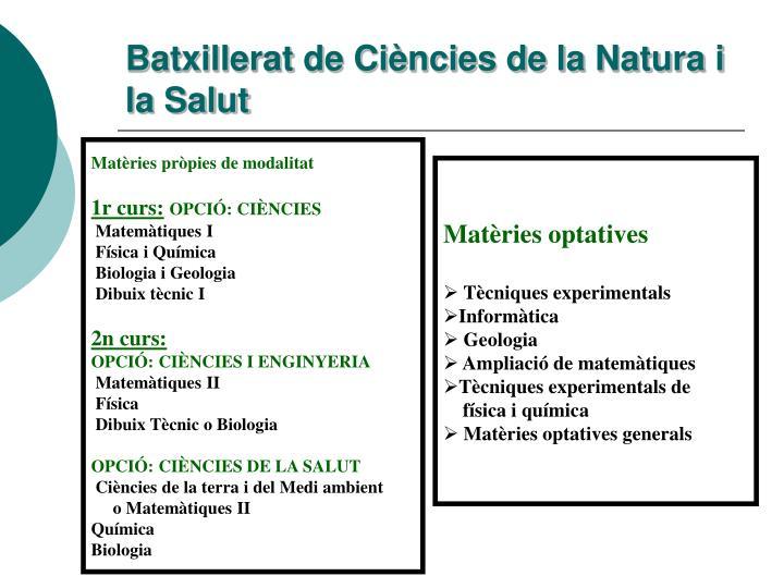 Batxillerat de Ciències de la Natura i la Salut