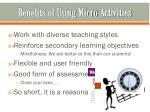 benefits of using micro activities