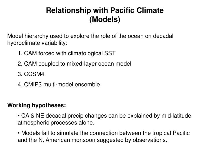 Relationship with Pacific Climate (Models)