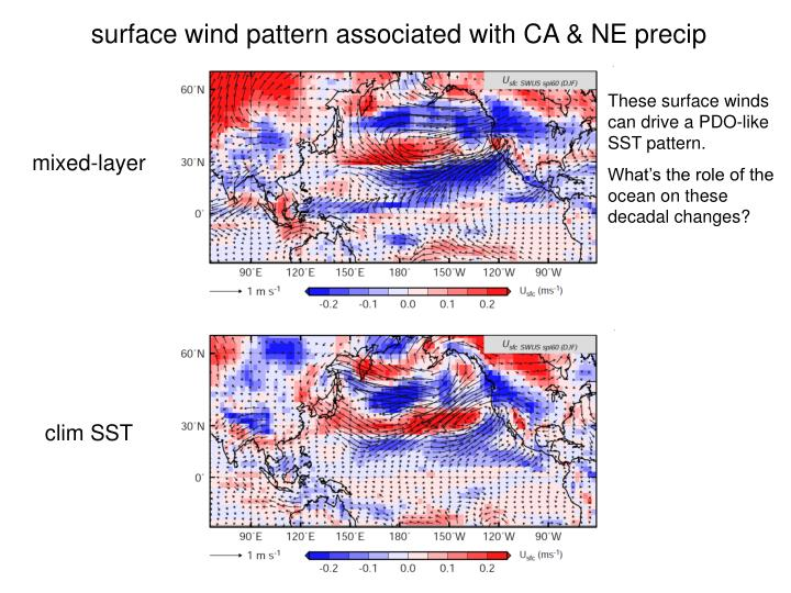 surface wind pattern associated with CA & NE precip
