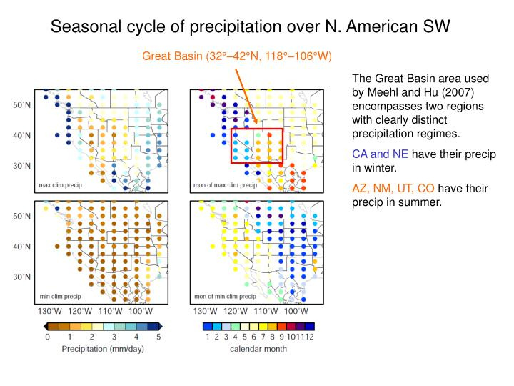 Seasonal cycle of precipitation over N. American SW