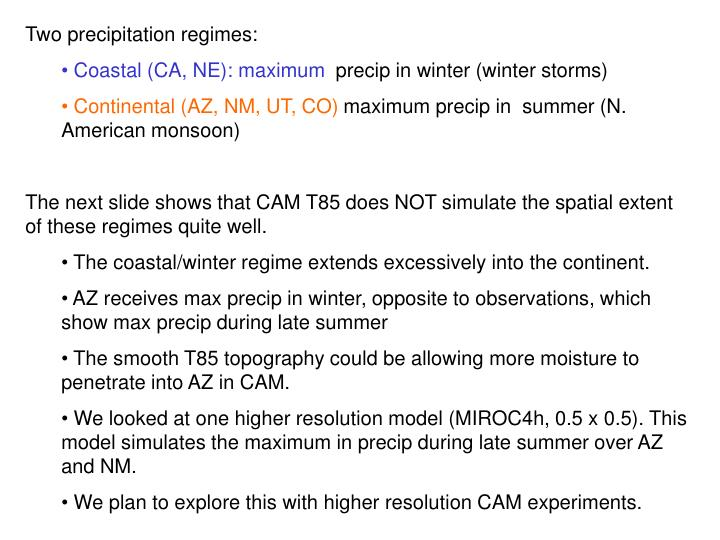 Two precipitation regimes: