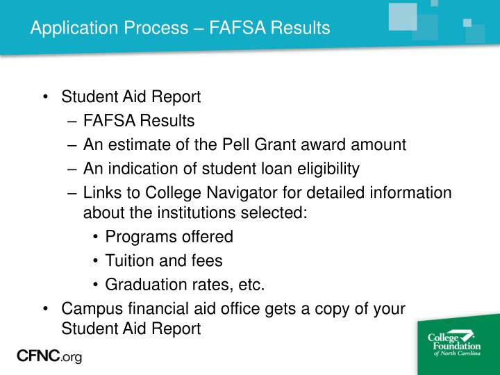 Application Process – FAFSA Results