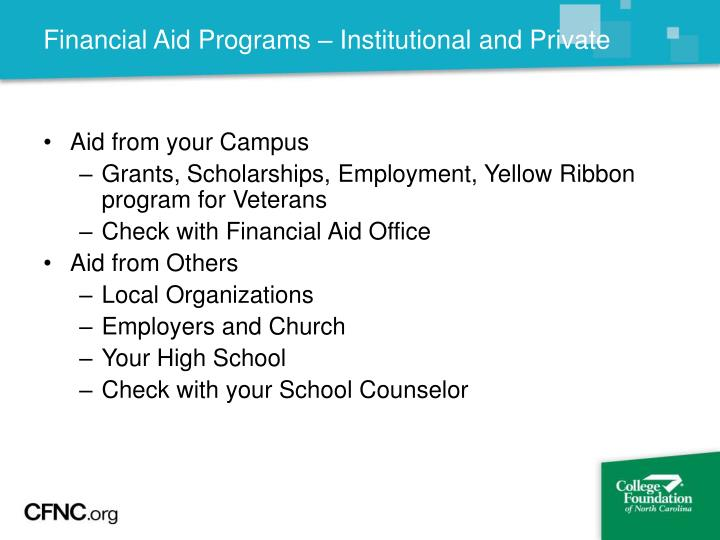 Financial Aid Programs – Institutional and Private