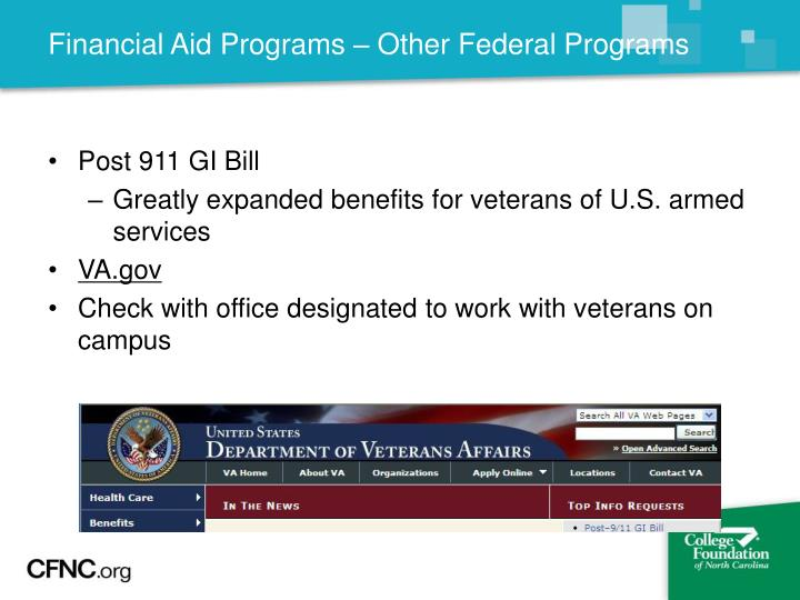 Financial Aid Programs – Other Federal Programs