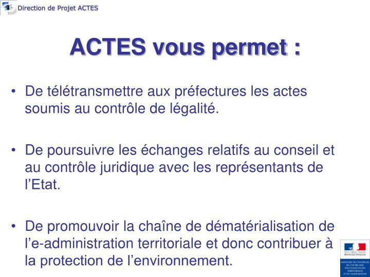 Direction de Projet ACTES