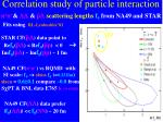 correlation study of particle interaction