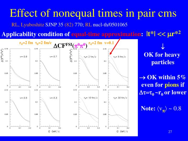 Effect of nonequal times in pair cms