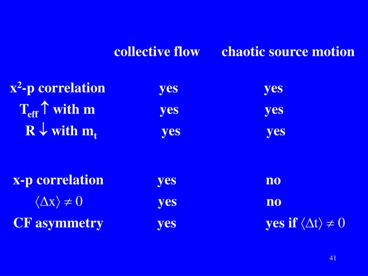 collective flow      chaotic source motion