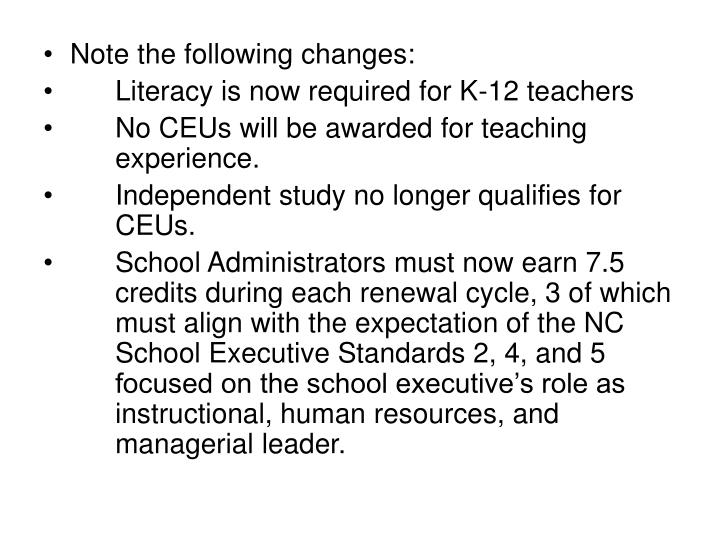 Note the following changes: