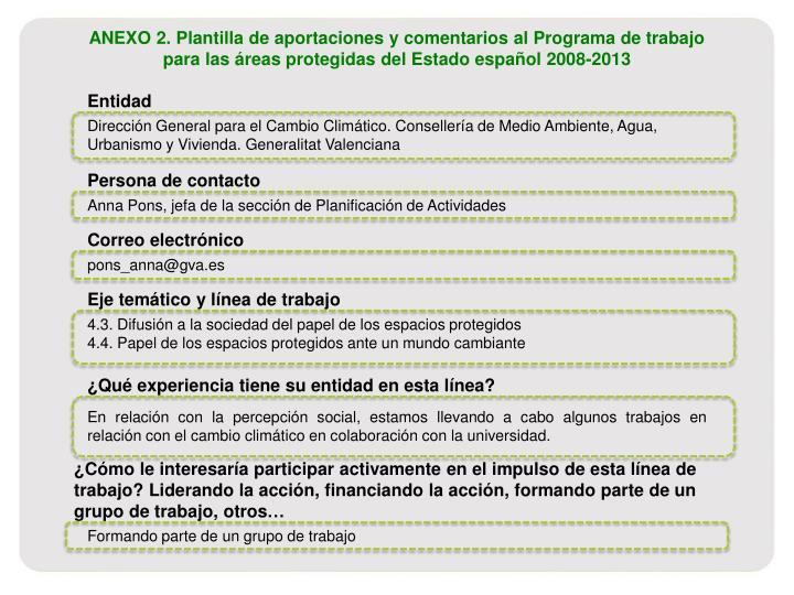 ANEXO 2. Plantilla de aportaciones y comentarios al Programa de trabajo