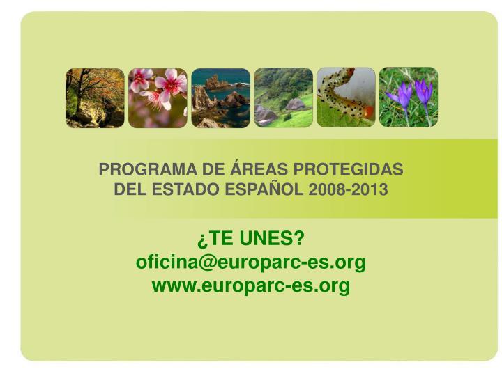 PROGRAMA DE ÁREAS PROTEGIDAS