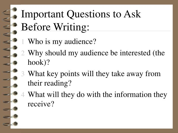 Important Questions to Ask Before Writing: