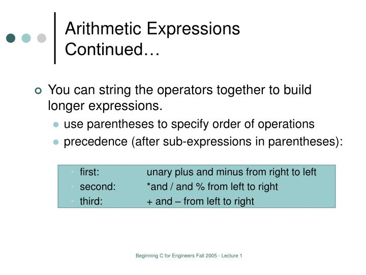 Arithmetic Expressions Continued…