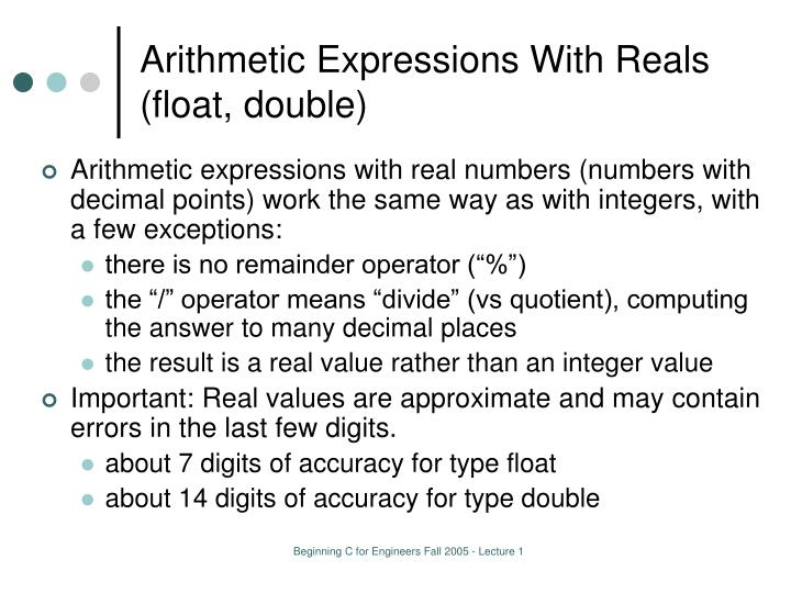 Arithmetic Expressions With Reals (float, double)