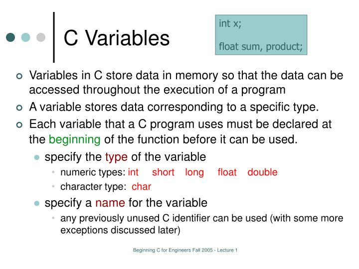 C Variables