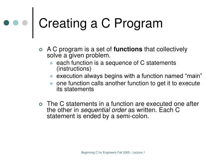 Creating a C Program