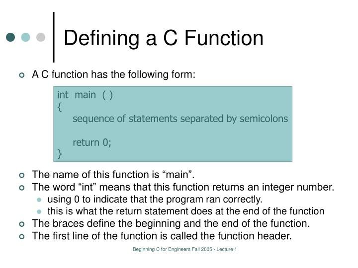 Defining a C Function