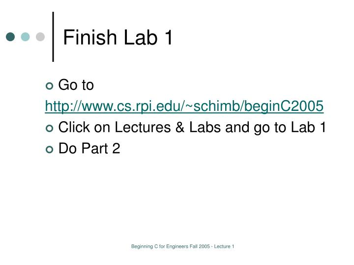 Finish Lab 1