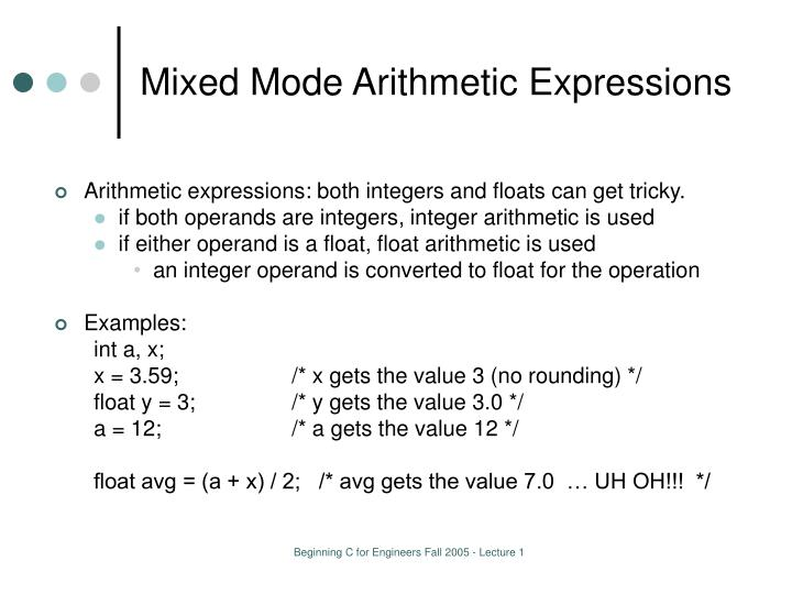 Mixed Mode Arithmetic Expressions
