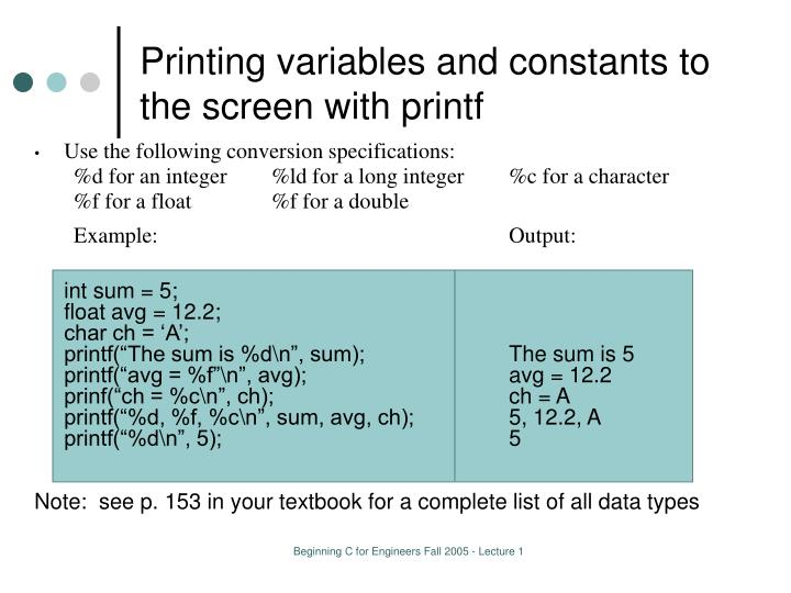 Printing variables and constants to the screen with printf
