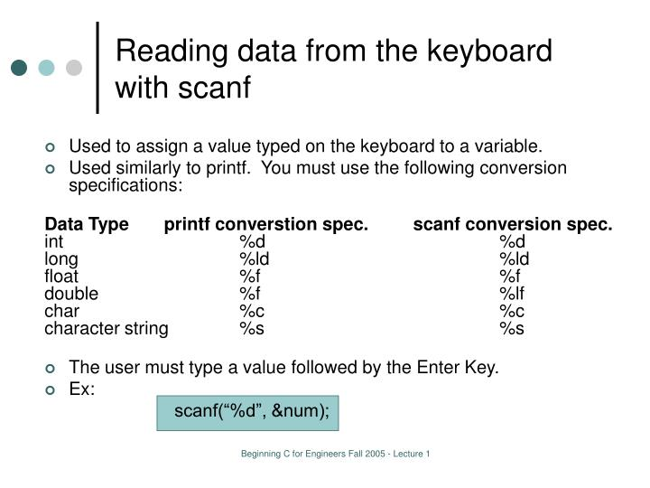 Reading data from the keyboard with scanf