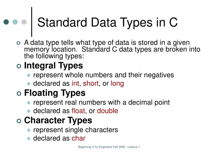 Standard Data Types in C