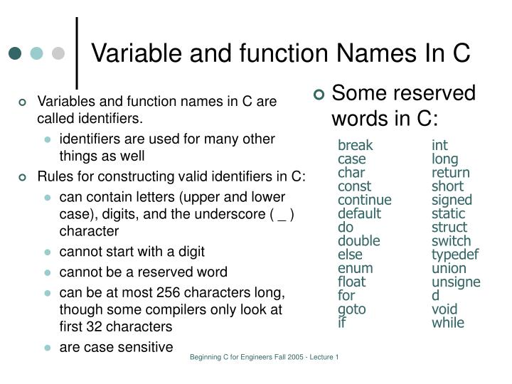 Variable and function Names In C