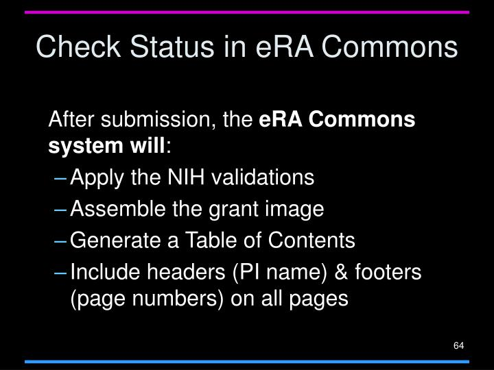 Check Status in eRA Commons