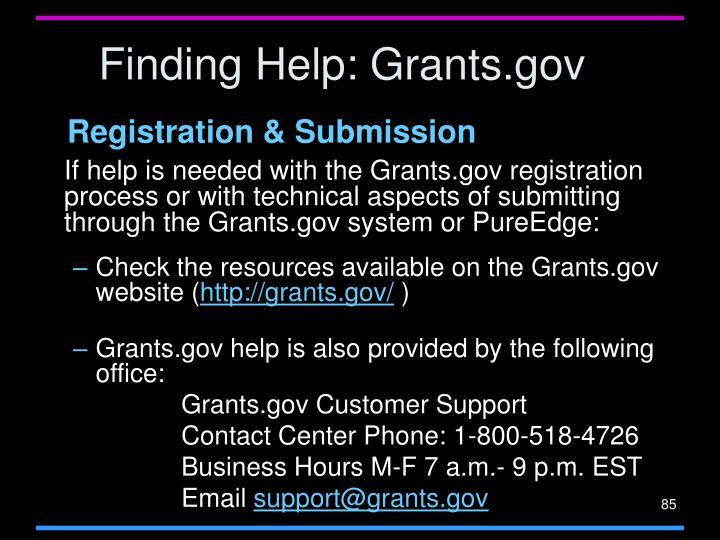 Finding Help: Grants.gov