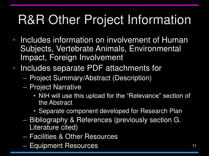 R&R Other Project Information
