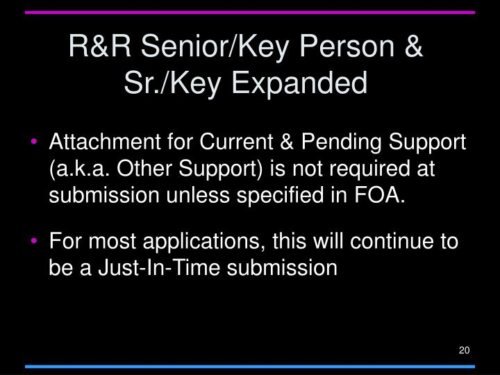 R&R Senior/Key Person & Sr./Key Expanded