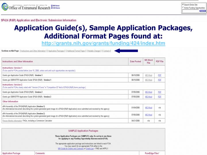 Application Guide(s), Sample Application Packages, Additional Format Pages found at: