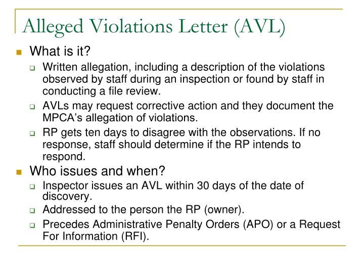 Alleged Violations Letter (AVL)