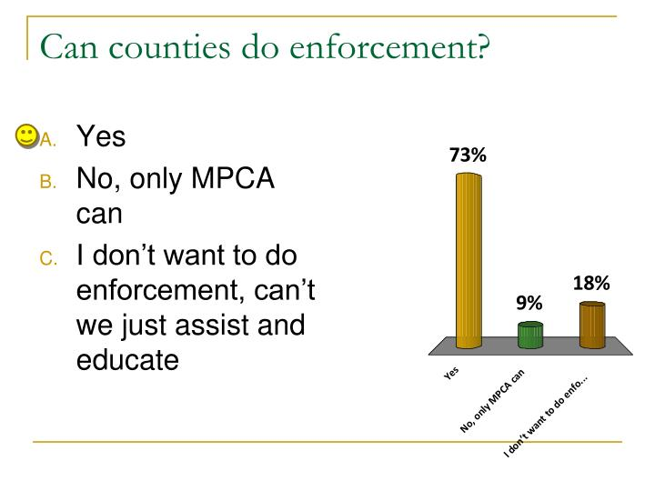 Can counties do enforcement?