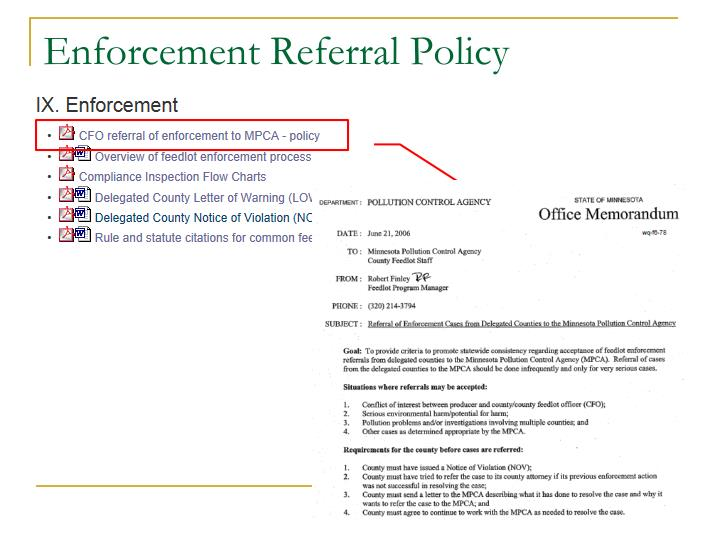 Enforcement Referral Policy